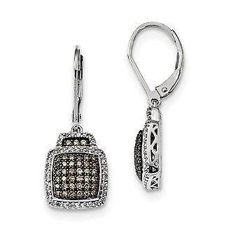 925 Sterling Silver Bungelen Gift Boxed Cut out kanten Rhodium verguldchampagne Diamond Large Square Leverback Oorbellen Jood