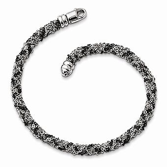 925 Sterling Silver Ruthenium plated Twisted Bracelet 7.25 Inch Jewelry Gifts for Women - 7.0 Grams