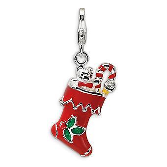 925 Sterling Silver Rhodium pläterad Fancy Lobster Stängning 3 D Röd Enameled Holiday Strumpa med hummer lås charm Pend