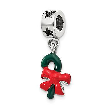 925 Sterling Silver Polished Reflections Green Enameled Candycane Dangle Bead Charm Pendant Necklace Jewelry Gifts for W