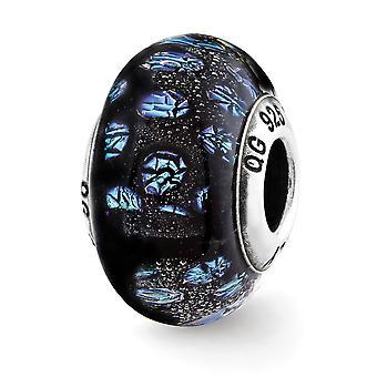 925 Sterling Silver acabamento italiano Murano Glass Reflections Blue Dots Glass Bead Charm Colar Colar jóias presentes fo