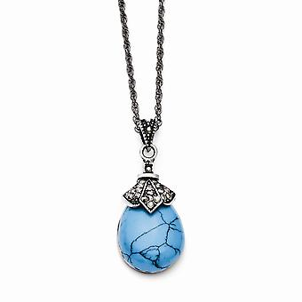 Stainless Steel Oval Polished Fancy Lobster Closure Simulated Turquoise Crystal Teardrop Necklace 18 Inch Jewelry Gifts