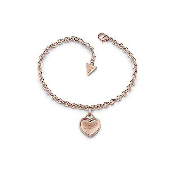 Guess Jewellery Guess Rose Gold Pated Bracelet Logo Heart Charm UBB28026-L