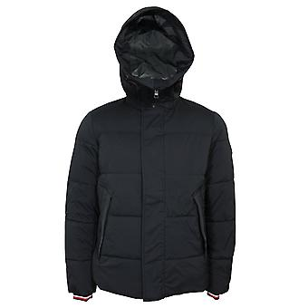 Tommy hilfiger stretch nylon men's jet black hooded bomber jacket