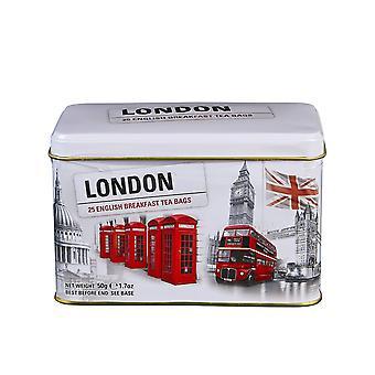 Estação de chá de Londres com 25 sacos de chá de café da manhã inglês