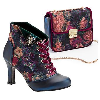 Joe Browns Couture Floral Velvet Raven Boots & Matching Bag