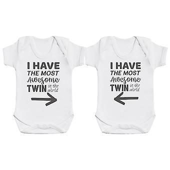 Most Awesome Twin Baby Bodysuit Twin Set