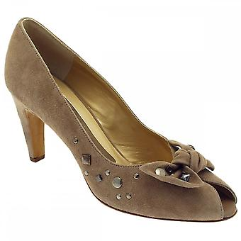 Peter Kaiser Siris Taupe Suede Studed Bow Peep Toe Court Shoe