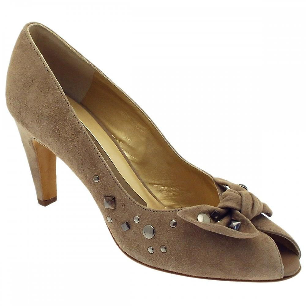 Peter Kaiser Siris Taupe Suede Studed Bow Peep Toe Court Buty Db1Ez