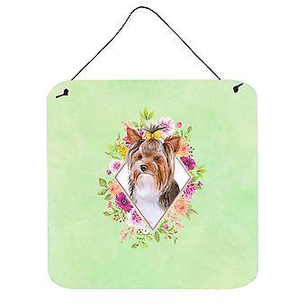 Yorkshire Terrier #1 Green Flowers Wall or Door Hanging Prints