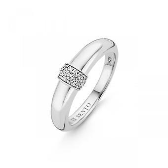 Ring Ti Sento glinsterende lichten 12151ZI-ring zilver bestrating vrouwen