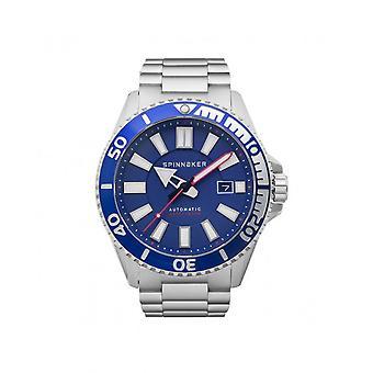 Spinnaker Watch SP-5074-22 - AMALFI Automatic/ Dateur Acier Acier Acier Argent Silver Dial Blue Men