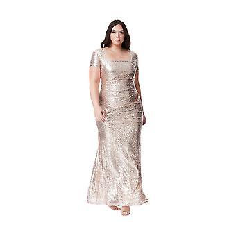 Goddiva Plus Size Sequin Maxi Portrait Neck Dress