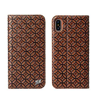 For iPhone XS,X Wallet Case,Fierre Shann Copper Coin Genuine Leather Cover,Brown