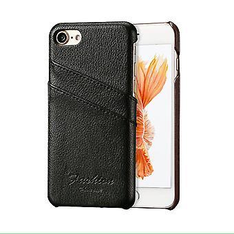 Für iPhone SE (2020), 8 & 7 Fall, Mode stilvolle handgemachte echte Lychee Lederbezug, schwarz
