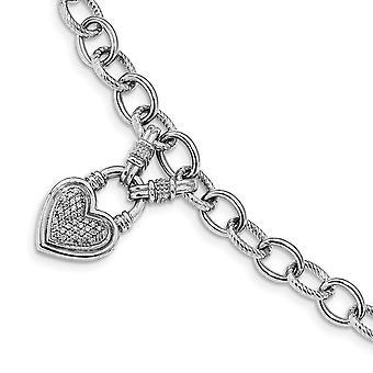 7.1mm 925 Sterling Silber CZ Zirkonia simuliert Diamant Liebe Herz baumeln poliert Toggle Armband Schmuck Geschenke f