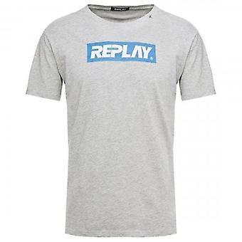 Replay Print Logo Crew Neck T-Shirt Grey M3003