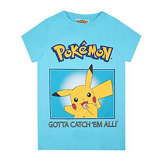 Pokemon Pikachu -apos;Gotta Catch Em All-apos; Boys Kid-apos;s Blue T-Shirt Top