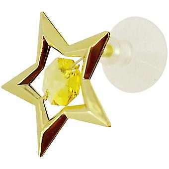 Crystocraft Goldtone Star Made With Swarovski Crystals, Decorative Suction Pad - Set of 2