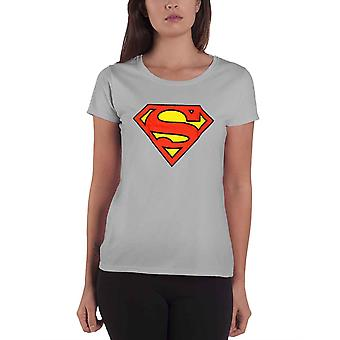 Official Womens Superman T Shirt Top Grey Short Sleeve Logo Superhero Print