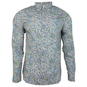 Camisas consideravelmente verdes Slim Fit camisa de impressão Paisley