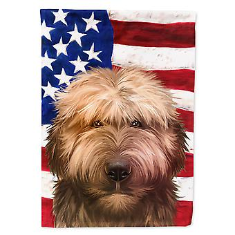 Carolines Treasures CK6461CHF Briard Hund American Flag Flag Canvas House Størrelse