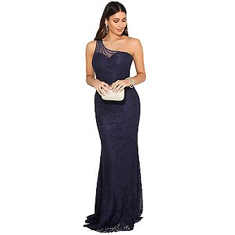KRISP mujeres mujeres un hombro Maxi vestido formal encaje cola de pescado vestido de noche largo