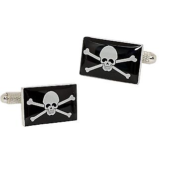 Jolly Roger Pirate Flag Cufflinks - Onyx Art - Gift Boxed - Skull and Crossbones