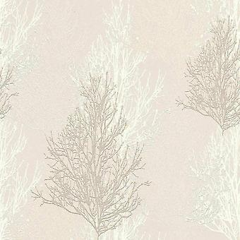 A.S. Creation AS Creation Wallpaper Willow Tree Branches Cream White Silver Metallic Glitter