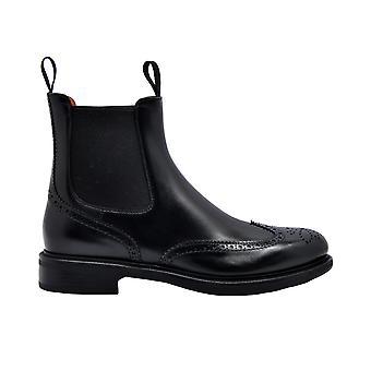 Santoni Wtek58152smccilkn01 Women's Black Leather Ankle Boots