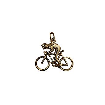 9ct Gold 18x25mm Bicycle and Cyclist Pendant or Charm