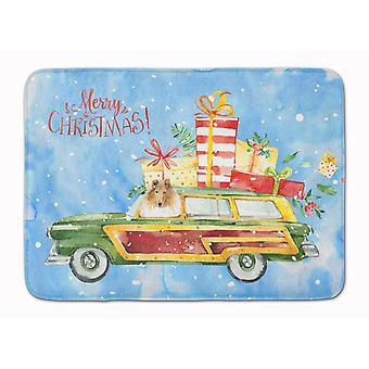 Merry Christmas Collie Machine Washable Memory Foam Mat