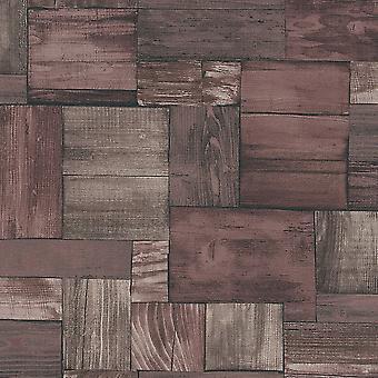 Erismann Wooden Block Pattern Faux Wood Effect Realistic Textured Brown Wallpaper
