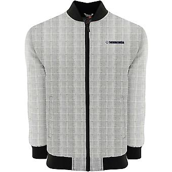 Lambretta Mens Prince of Wales Plaid Zipped Bomber Jacka Coat - Grå / Svart