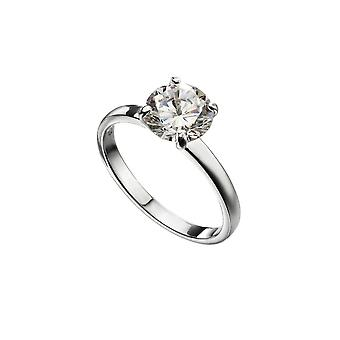 Beginnings Sterling Silver Round Zirconia Solitaire Ring R3735C