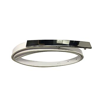 White Waist Belt with Long Silver Buckle