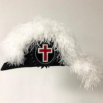 Knights templar line officer sir knight chapeau - deluxe fur felt - flat body