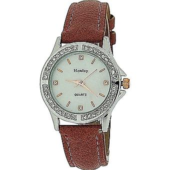Henley Ladies Diamant Bezel Mother of Pearl Dial Terracotta Strap Watch H06062.4