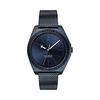 Hugo Mens 'Act' Round Blue Dial Blue IP Mesh Bracelet Watch 1530109