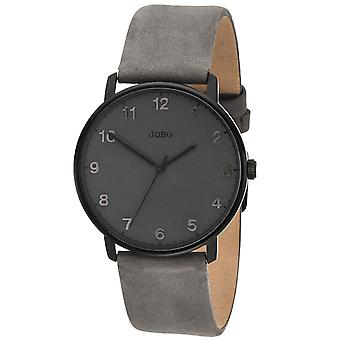 JOBO Men's Watch Quartz Analog Stainless Steel Leather Strap Grey Men's Watch