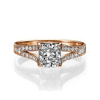 1 karat H VS1 diamant forlovelsesring 14k Rose Gold delt Shank Diamond Ring Princess Cut