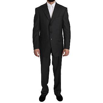 Ermenegildo Zegna Gray Striped 2 Piece 3 Button Wool  Suit -- KOS1386480