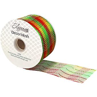 Foiled Traditional Christmas 6cm x 10m Deco Mesh Roll for Wreath Making & Floristry