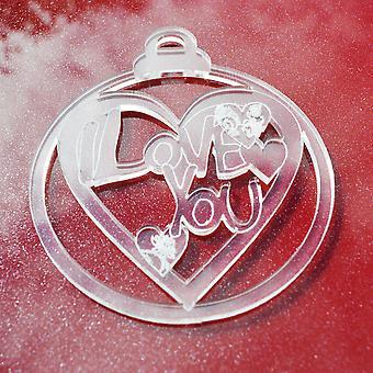 6 PK I Love You Heart Clear Acrylic Christmas Decorations