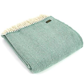 Tweedmill Pure New Wool Fishbone Sea Green Throw