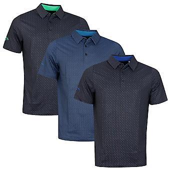 Callaway Golf Mens All Over Chev Print Wicking Stretch Golf Polo Shirt