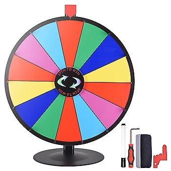 """WinSpin 24"""" 14 Slot Tabletop Color Dry Erase Prize Wheel +Stand Fortune Spinning Game Tradeshow"""