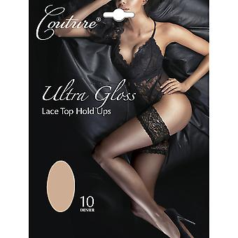 Couture Womens/Ladies Ultra Gloss Lace Top Hold Ups (1 Pair)