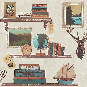 Rasch Study Book Shelf Gold Picture Frame Stag Damask Pattern Wallpaper