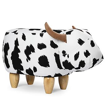 YANGFAN Cattle Animal Foot Rest Stool,Padded Seat Upholstered Ottomans